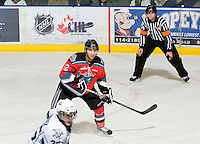 KELOWNA, CANADA, DECEMBER 2: Tyrell Goulbourne #12 of the Kelowna Rockets skates on the ice as the Victoria Royals visit the Kelowna Rockets  on December 2, 2011 at Prospera Place in Kelowna, British Columbia, Canada (Photo by Marissa Baecker/Shoot the Breeze) *** Local Caption ***
