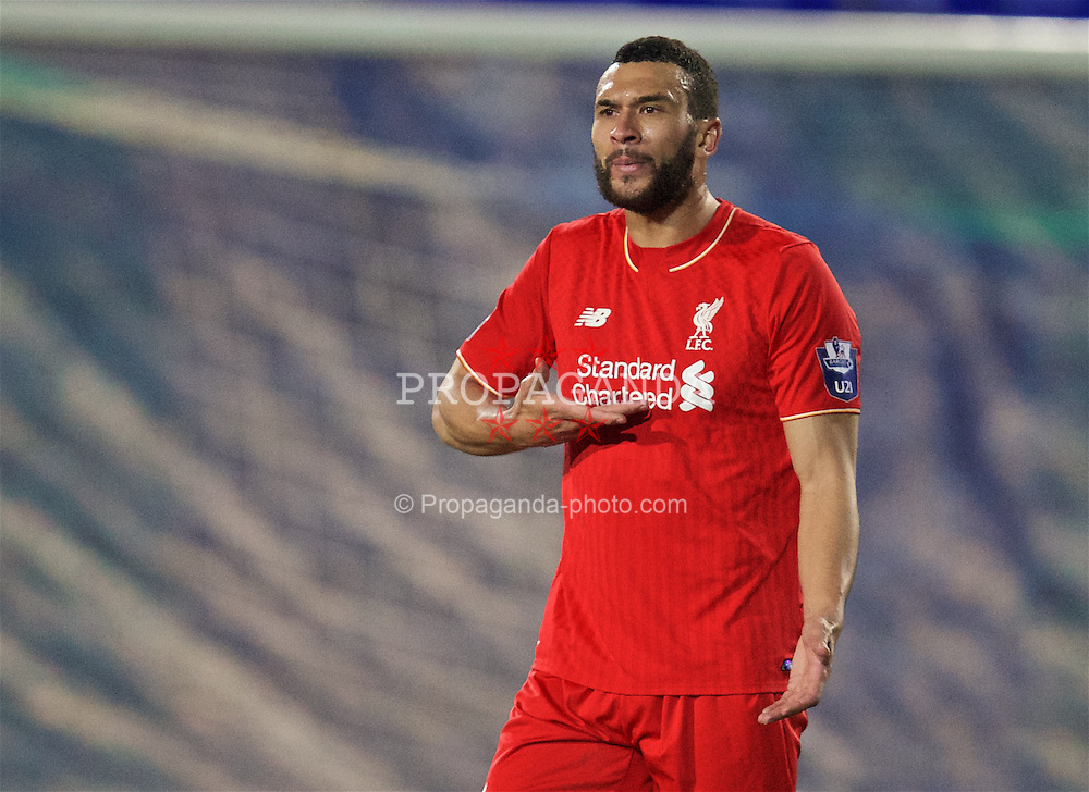 BIRKENHEAD, ENGLAND - Friday, March 11, 2016: Liverpool's Steven Caulker in action against Manchester United during the Under-21 FA Premier League match at Prenton Park. (Pic by David Rawcliffe/Propaganda)