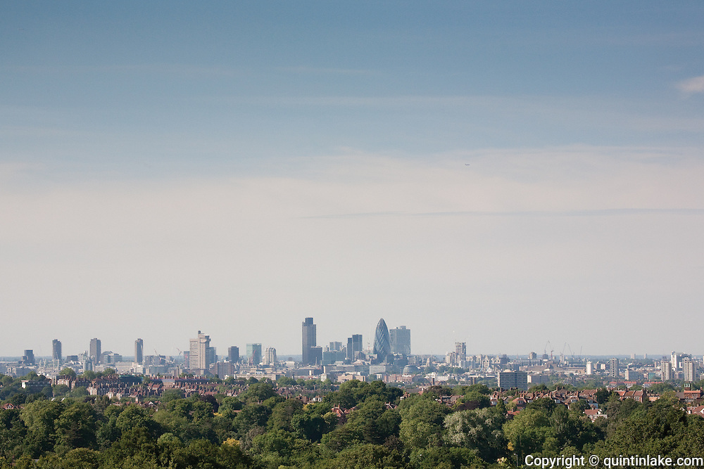 City of London skyline from Sydenham Hill. The city has a population of 7.5 million within the boundaries of Greater London making it the most populous municipality in the European Union. London, UK, 2009
