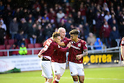Northampton Town midfielder Lawson D'Ath  celebrates scoring during the Sky Bet League 2 match between Northampton Town and Yeovil Town at Sixfields Stadium, Northampton, England on 28 November 2015. Photo by Dennis Goodwin.