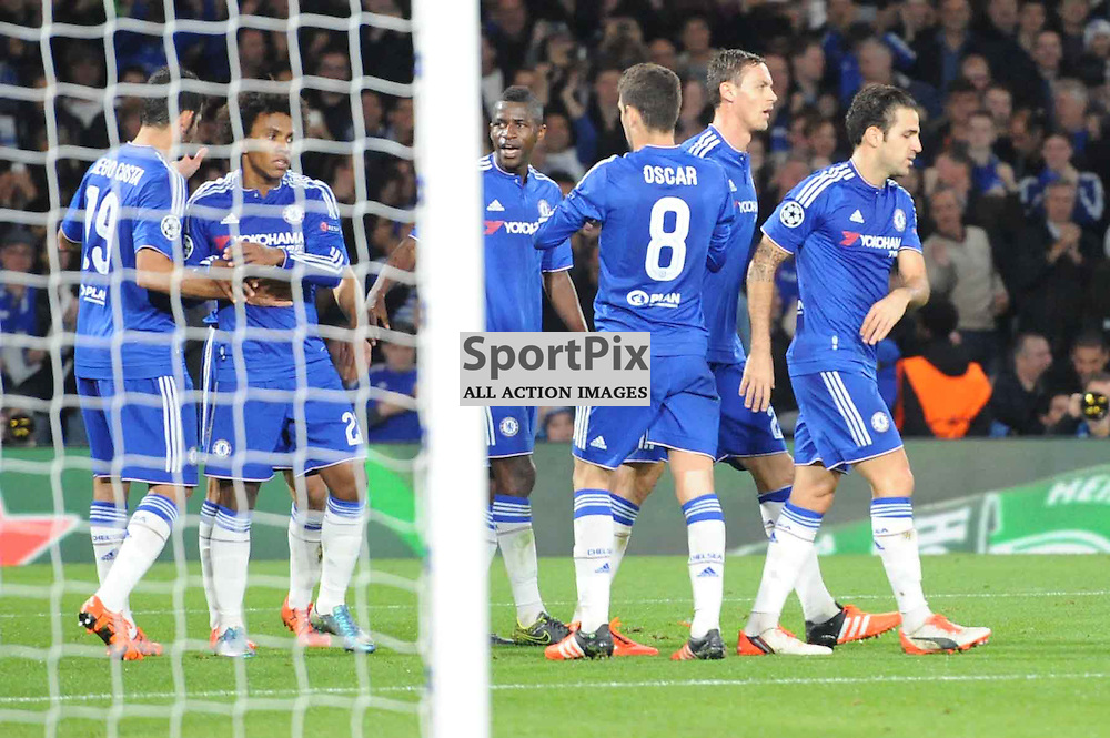 The Chelseas players celebrate Dynamo Kievs Aleksandar Dragovics own goal which gives them the lead during the Chelsea v Dynamo Kiev champions league match in the group stage on the 4th November 2015