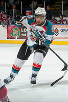 KELOWNA, CANADA - MARCH 8: Tyrell Goulbourne #12 of the Kelowna Rockets skates against the Tri-City Americans on March 8, 2014 at Prospera Place in Kelowna, British Columbia, Canada.   (Photo by Marissa Baecker/Getty Images)  *** Local Caption *** Tyrell Goulbourne;