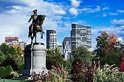 Equestrian bronze statue of George Washington, in the Public Garden, Boston, Massachusetts, USA
