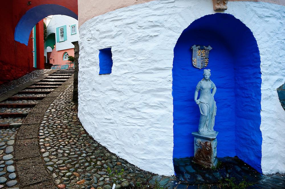Portmeirion village, designed and built by Sir Clough Williams-Ellis, Gwynedd, Wales, UK
