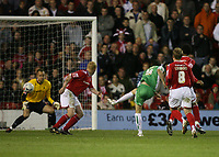 Photo: Rich Eaton.<br /> <br /> Nottingham Forest v Yeovil Town. Coca Cola League 1. Play off Semi Final 2nd Leg. 18/05/2007. Aaron Davies scores for Yeovil late in extra time