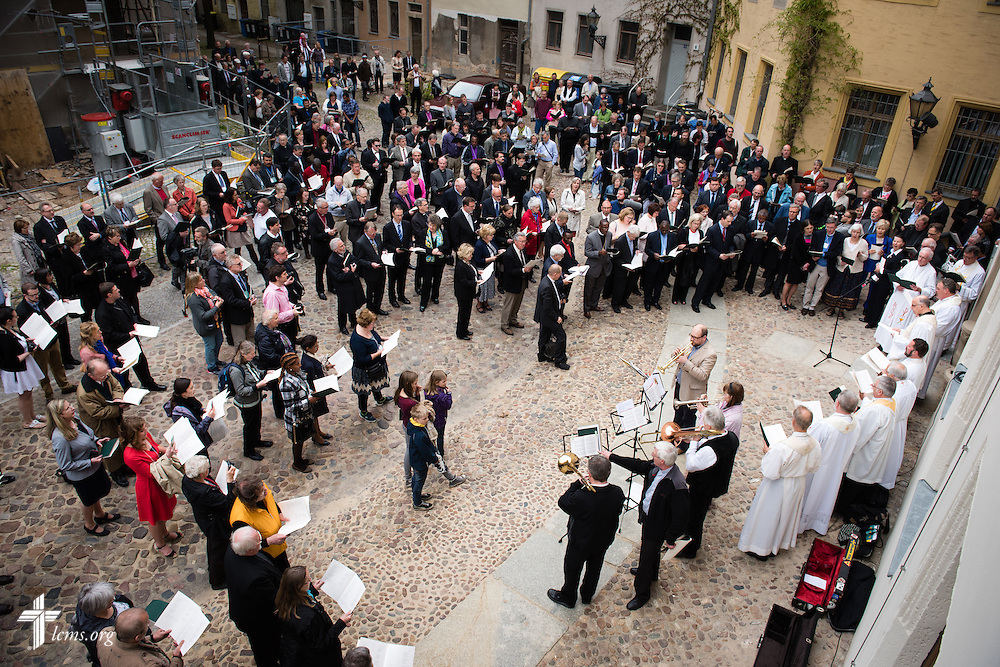 A crowd gathers for the dedication of The International Lutheran Center at the Old Latin School on Sunday, May 3, 2015, in Wittenberg, Germany. LCMS Communications/Erik M. Lunsford