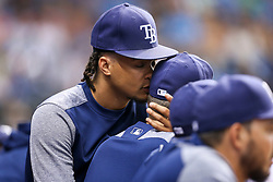 July 7, 2017 - St. Petersburg, Florida, U.S. - WILL VRAGOVIC   |   Times.Tampa Bay Rays starting pitcher Chris Archer (22) whispers in starting pitcher Blake Snell's ear during the game between the Boston Red Sox and the Tampa Bay Rays at Tropicana Field in St. Petersburg, Fla. on Friday, July 7, 2017. (Credit Image: © Will Vragovic/Tampa Bay Times via ZUMA Wire)