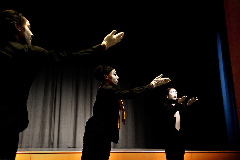 Members of the anointed ministries mime group perform during the  Creative Arts as Activism event which was held in Baker Center Theatre on tuesday in honor of Dr. Martn Luther King. The event featured several performers, each of whom dealt with racial issues through song, poetry, dance and artwork. Photo by: Ross Brinkerhoff