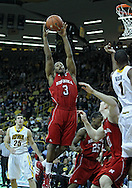 January 26, 2012: Nebraska Cornhuskers guard Brandon Richardson (3) pulls in a rebound during the NCAA basketball game between the Nebraska Cornhuskers and the Iowa Hawkeyes at Carver-Hawkeye Arena in Iowa City, Iowa on Thursday, January 26, 2012.