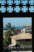 Africa. Tanzania. Zanzibar. Stone Town. .View from the lattice window in the home of the infamous Swahili slave trader Tibbu Tip..CD0010