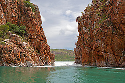 The Horizontal Waterfalls on an incoming tide in the 2011 wet season.