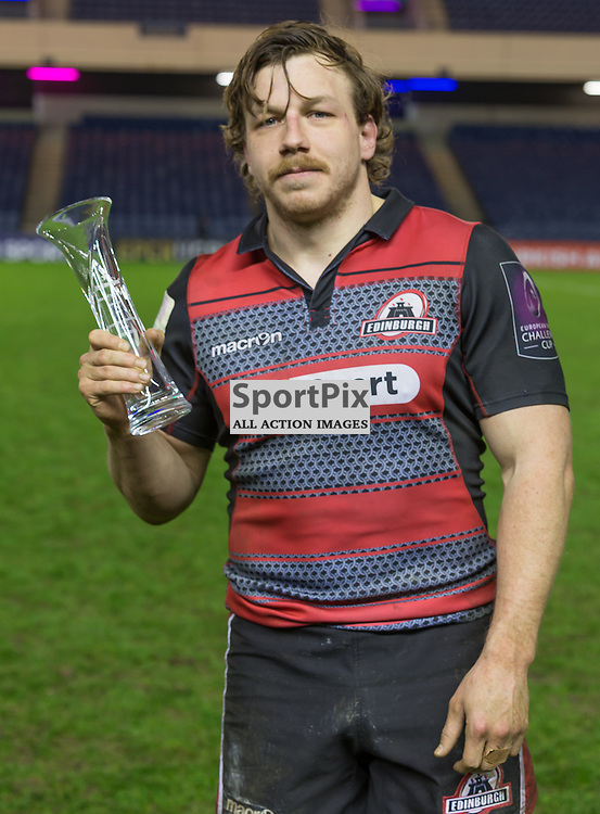 MAn of the Match Edinburgh #7 Hamish Watson.  Edinburgh Rugby v Agen, European Challenge Cup, 15th January 2016