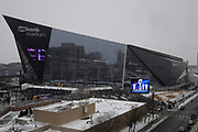 General overall view of U.S. Bank Stadium in the snow in Minneapolis, Sunday, Jan 14, 2018. The venue will play host to Super Bowl LII between the AFC and NFC Division champions on Feb. 4, 2018.