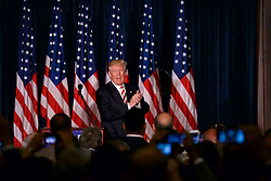 Republican Presidential Candidate Donald Trump <br /> outlines his security and foreign polices to a small crowd at a campaign event in Philadelphia, Pennsylvania.