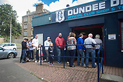 10th August 2019; Dens Park, Dundee, Scotland; SPFL Championship football, Dundee FC versus Ayr; Fans queue for tickets ahead of Dundee's first home league game of the season