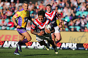 Latrell Mitchell dives in for a try. Sydney Roosters v Vodafone Warriors. NRL Rugby League. Sydney Cricket Ground, Sydney, Australia. 18th August 2019. Copyright Photo: David Neilson / www.photosport.nz