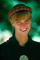 Norwegian woman in native costume of Telemark region at the Norwegian Folk Museum on Bygdoy Peninsula, Oslo, Norway