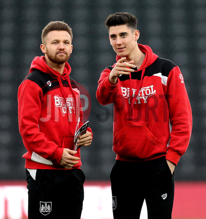 Matty Taylor and Callum O'Dowda of Bristol City arrive at The iPro stadium ahead of the Sky Bet Championship fixture with Derby County - Mandatory by-line: Robbie Stephenson/JMP - 11/02/2017 - FOOTBALL - iPro Stadium - Derby, England - Derby County v Bristol City - Sky Bet Championship