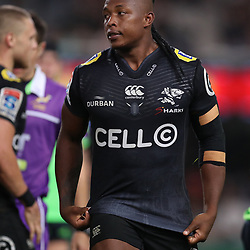 DURBAN, SOUTH AFRICA - MAY 05: S'busiso Nkosi of the Cell C Sharks during the Super Rugby match between Cell C Sharks and Highlanders at Jonsson Kings Park Stadium on May 05, 2018 in Durban, South Africa. (Photo by Steve Haag/Gallo Images)