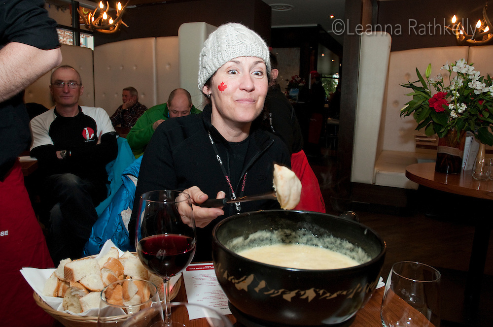 The House of Switzerland offers traditional cheese fondue during the 2010 Olympic Winter Games in Whistler, BC Canada