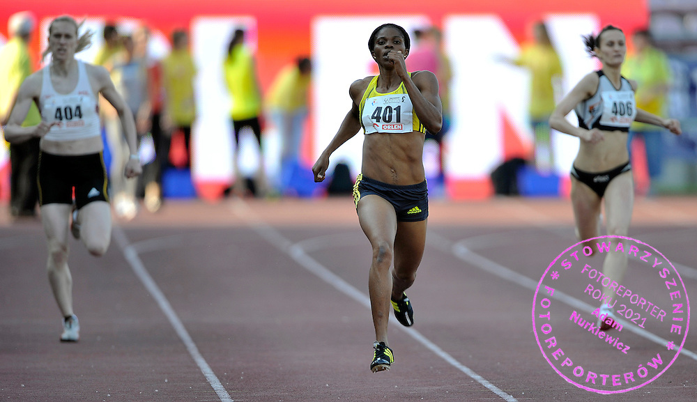 SHADE ABUGAN (NIGERIA) COMPETES IN WOMEN'S 100 METERS RACE DURING 56TH ATHLETIC MEMORIAL OF JANUSZ KUSOCINSKI 2010 IN WARSAW, POLAND...POLAND , WARSAW , JUNE 08, 2010..( PHOTO BY ADAM NURKIEWICZ / MEDIASPORT )