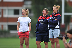 Wales Fly-half Elinor Snowsill, Bristol Ladies assistant coach Kim Oliver and England Centre Amber Reed look on - Mandatory by-line: Paul Knight/JMP - 29/07/2017 - RUGBY - Bristol Ladies Rugby pre-season training