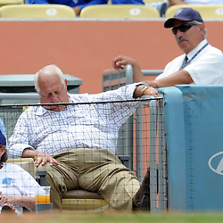 Hall of Fame and former Los Angeles Dodgers manager Tommy Lasorda takes a nap in the hot sun in the fifth inning during a baseball game in Los Angeles against the Los Angeles Dodgers on Sunday, July 31, 2011. (SGVN/Staff Photo by Keith Birmingham/SPORTS)