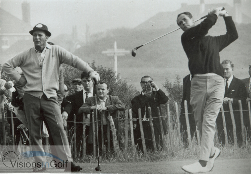 Tony Lema drives as Arnold Plamer watches at the Ryder Cup 1965<br /> <br /> Picture Credit: &copy;Visions In Golf/Michael Hobbs