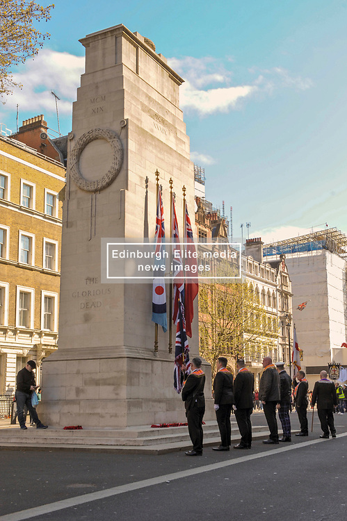 Orange men of the Orange order lay wreaths at the Cenotaph London.<br /> <br /> Richard Hancox | EEm 13042019