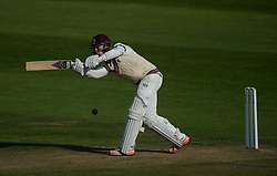 Somerset's Tom Abell hits the ball. - Mandatory byline: Alex James/JMP - 07966386802 - 09/09/2015 - FOOTBALL -  - The County Ground - Taunton  - Somerset v Hampshire - LV CC -