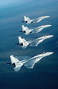 F-15 Eagles flying in perfect formation