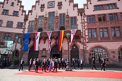 FRANKFURT-GERMANY-24-06-2015- Britain's Queen Elizabeth accompanied by HRH The Duke of Edinburgh visited The Romer in the centre of Frankfurt on her State Visit to Germany.<br /> After lunch the Queen appeared on the balcony in from of large crowds with the German President Gauck &amp; Ms Schadtand also the Hessen Regional Hessischer President Volker Bouffier <br /> Photograph by Ian Jones