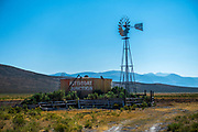 Colorful water tank and windmill along Highway 28 near Leadore, Idaho and the Birch Creek Charcol Kilns.