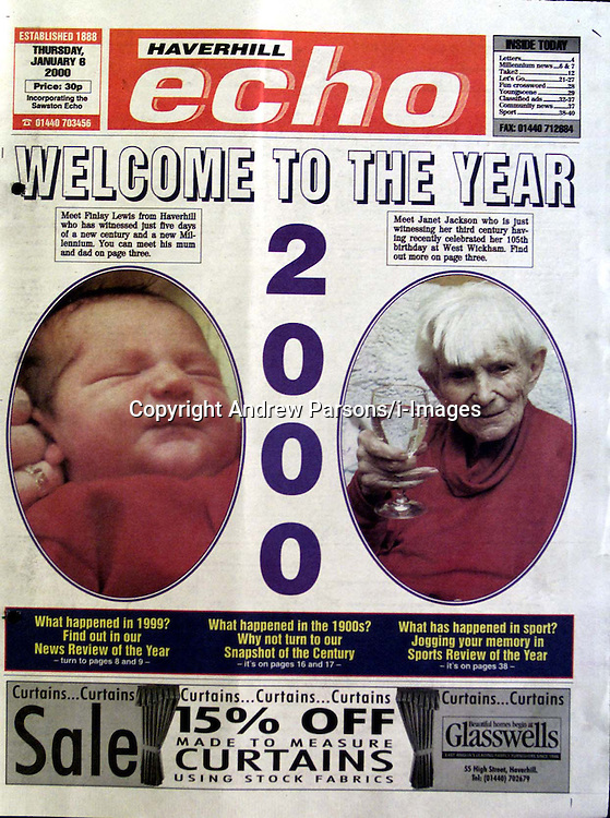 Copy of the Haverhill Echo RE the story on the Lewis family and their millennium baby Finlay. January 1, 2000..Photo by Andrew Parsons/i-Images..