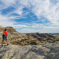 eastern montana woman hiking along ridge dray arm fort peck lake montana