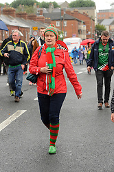 Ann Baynes from Westport on her way to All Ireland Semi Final against Kerry at Croke Park.<br /> Pic Conor McKeown