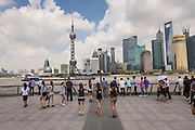People view the skyline of Lujiazui Pudong Shanghai, China