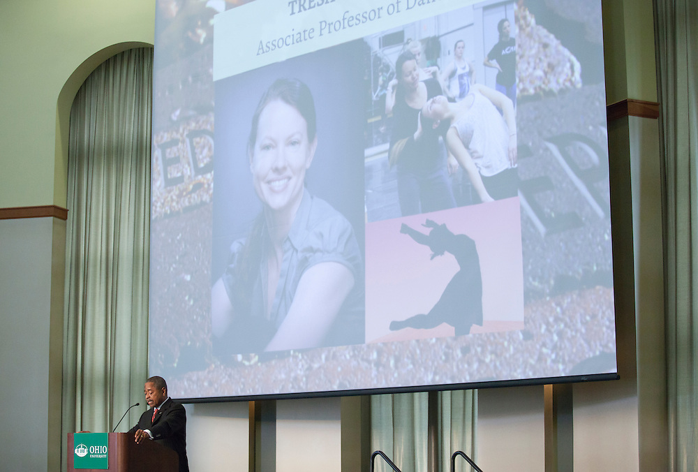 President Roderick McDavis recognizes Tresa Randall, associate professor of dance, for winning the Presidential Teacher Award during the Faculty and Staff Convocation in Walter Rotunda on Wednesday, August 26, 2015. Photo by Kaitlin Owens