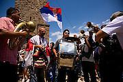 "Serbian anniversary celebrations at the site of the 1389 ""Battle of Kosovo"" near Pristina, Kosovo. A Balkan gypsy band...Gazimestan, Kosovo, Serbia."