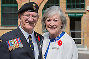 Jim Still and Linda Witten JP, Vice President of the Canadian Veterans Association.<br /> <br /> 74th Anniversary of the Dieppe Raid (19 August 1942) Memorial Service held at Newhaven Fort and the Canadian War Memorial. Attended by Veterans, dignitaries and guests. Organised by Canadian Veterans Association (Brighton Branch) and Newhaven Council.