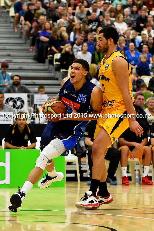 Giants player McKenzie Moore during their NBL Basketball game between the Nelson Giants v Taranaki Mountain Airs. Saxton Stadium, Nelson, New Zealand. Saturday 18 April 2015. Copyright Photo: Chris Symes / www.photosport.co.nz