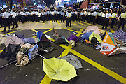 Destroyed umbrellas on Argyle road after a police charge<br /> <br /> Another night of chaotic clashes with police in Mongkok<br /> <br /> 21st day of pro-democracy protest in Hong Kong.<br /> The mass rallies are one of the biggest challenges to Beijing's authority since the Tiananmen pro-democracy protests of 1989