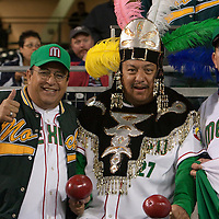 16 March 2009: Three fans cheer for Team Mexico during the 2009 World Baseball Classic Pool 1 game 3 at Petco Park in San Diego, California, USA. Cuba wins 7-4 over Mexico.