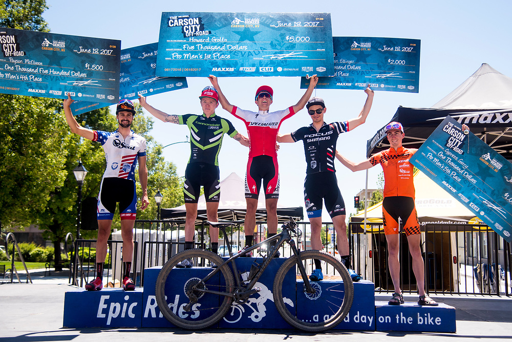 First place at the Carson City Off-Road Pro Men was Howards Grotts; second place Keegan Swenson; third place Stephen Ettinger; fourth place Payson McElveen; fifth place Cypress Gorry.