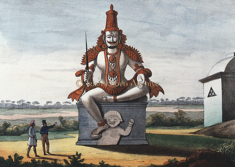 Statue of a Hindu evil genie. Coloured lithograph from 'L'Inde francaise', 1828