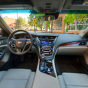 Interior of brand new 2015 Cadillac CTS luxury sedan, parked on Delaware Street in downtown Kansas City's River Market area.