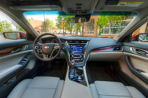Interior Of Brand New 2015 Cadillac CTS Luxury Sedan, Parked On Delaware  Street In Downtown