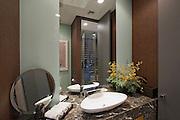 Marble surround wash basin in California home