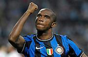 © Filippo Alfero<br /> Inter - Napoli - Serie A 2009 / 2010<br /> Milano - 23/09/2009<br /> sport calcio<br /> Nella foto: esultanza Samuel Eto'o dopo gol