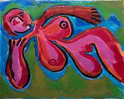 "Laki Senanayake.<br /> Red Nude. 20"" x 16""<br /> Acrylic on paper.<br /> $1100"